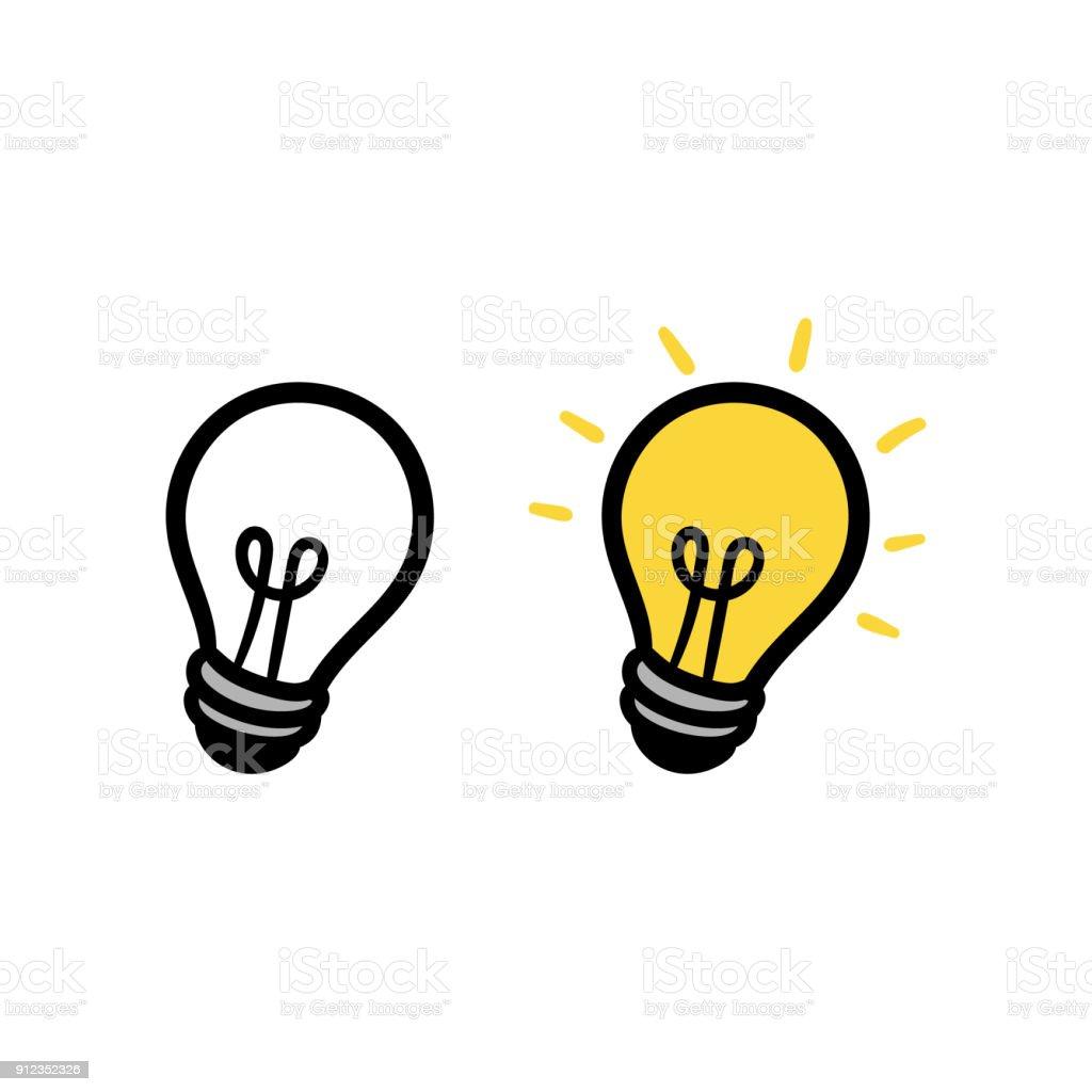 Bombilla de luz de dibujos animados o Idea - ilustración de arte vectorial
