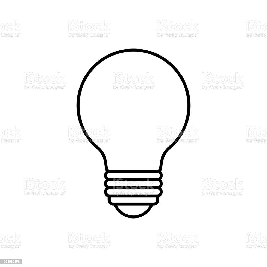 Cartoon Lightbulb Black Line White Background Stock Vector Art