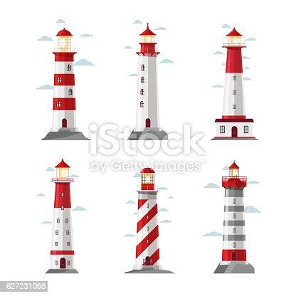 Cartoon lighthouse icons. Vector beacon or pharos set for sea security vector illustration. Set of striped lighthouses, sea beacon for security and navigation