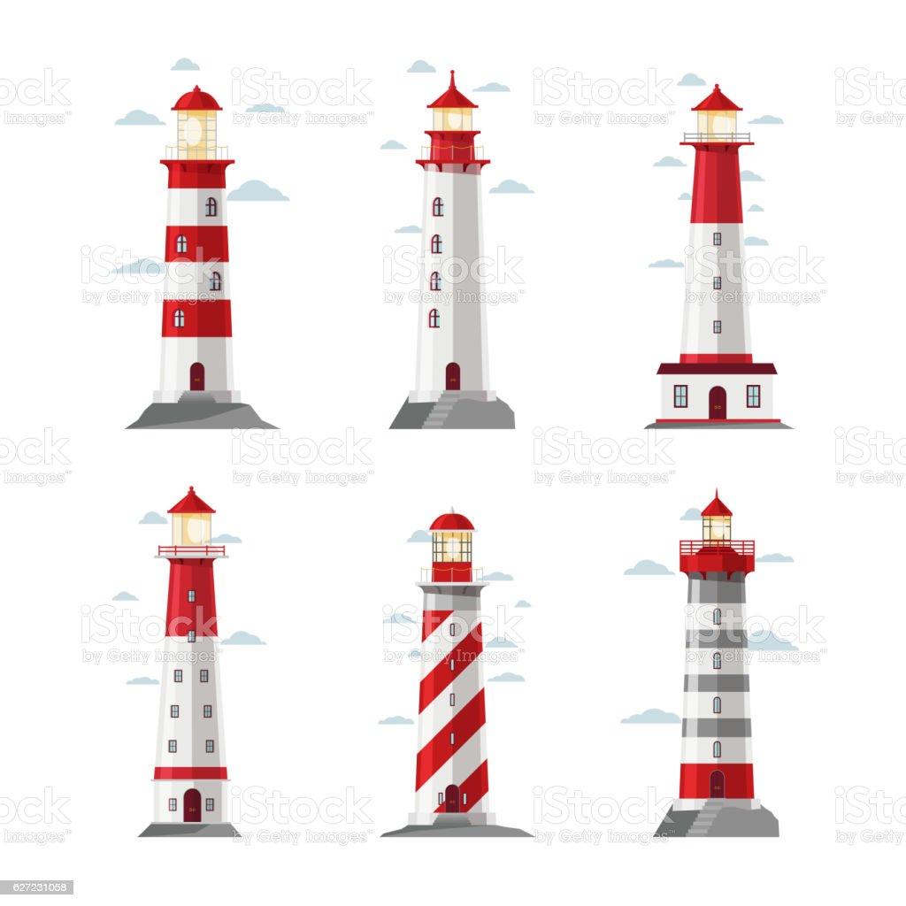 Cartoon lighthouse icons vector art illustration