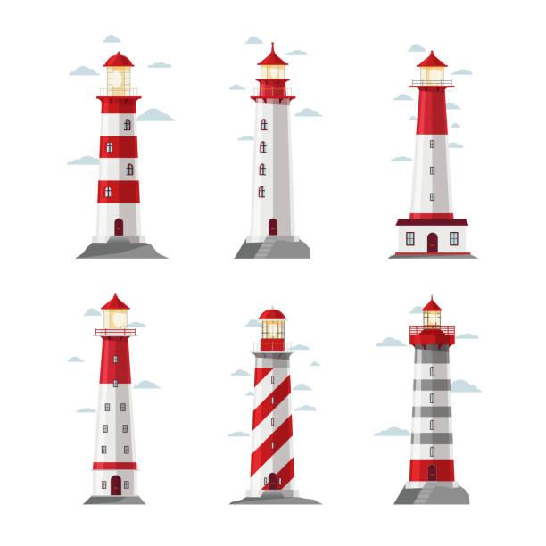 illustrations, cliparts, dessins animés et icônes de cartoon lighthouse icons - phare