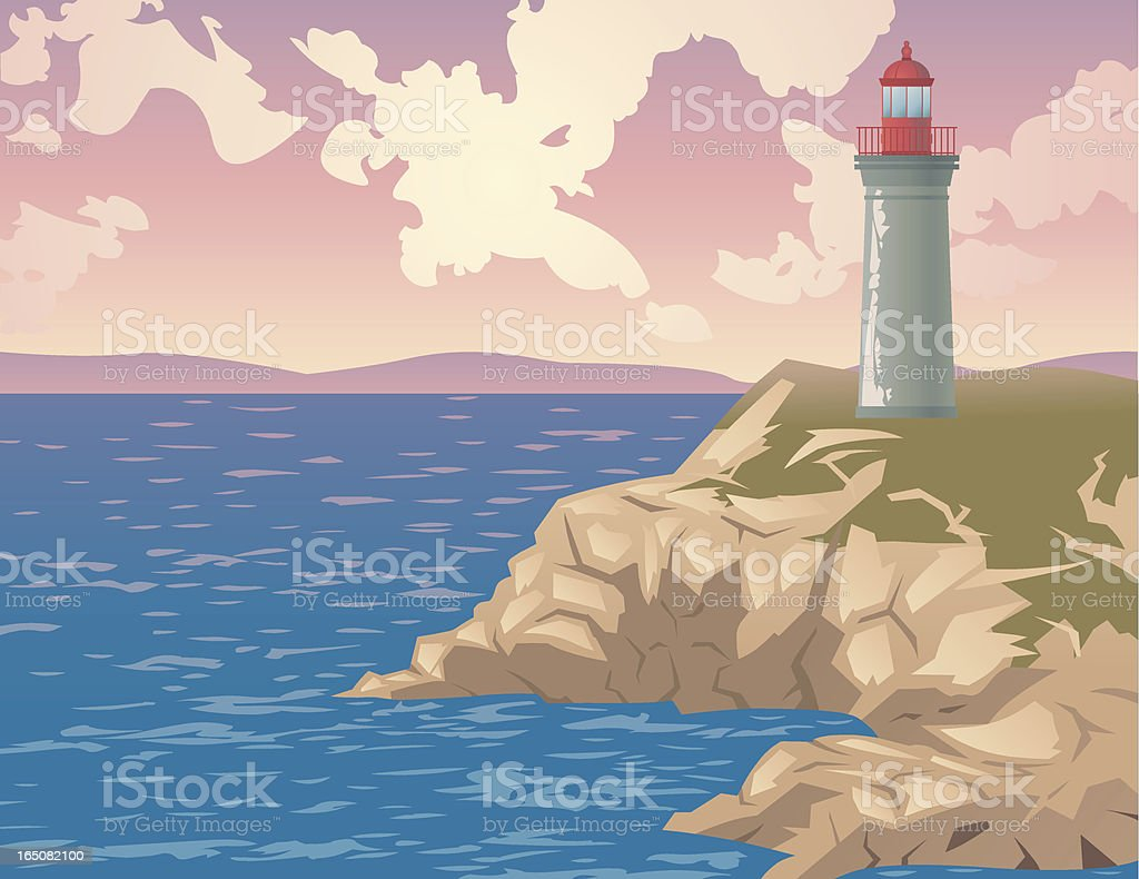 Cartoon Lighthouse On Cliff Overlooking Water Stock Illustration - Download  Image Now