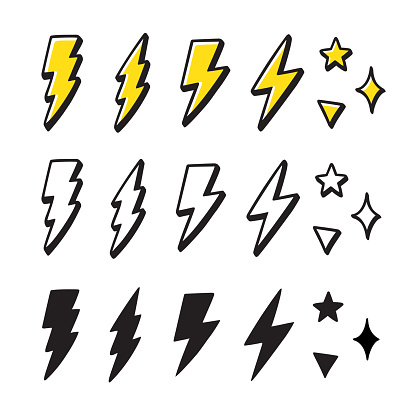 Cartoon lightning doodle set