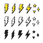 Set of cartoon style lightning bolts and stars. Hand drawn doodles, black and white and color. Vector design elements illustration.