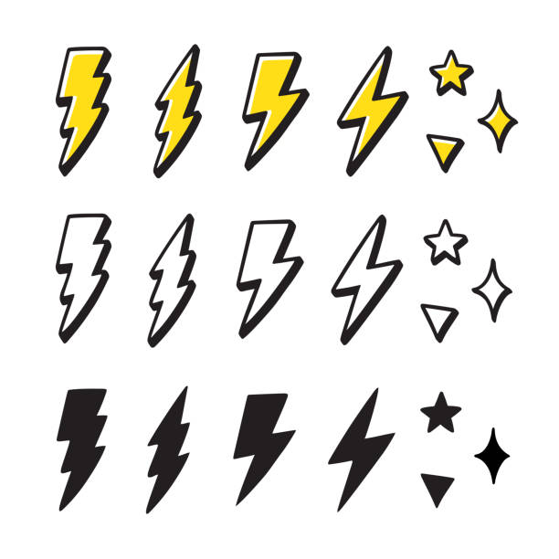 Cartoon lightning doodle set Set of cartoon style lightning bolts and stars. Hand drawn doodles, black and white and color. Vector design elements illustration. lightning stock illustrations