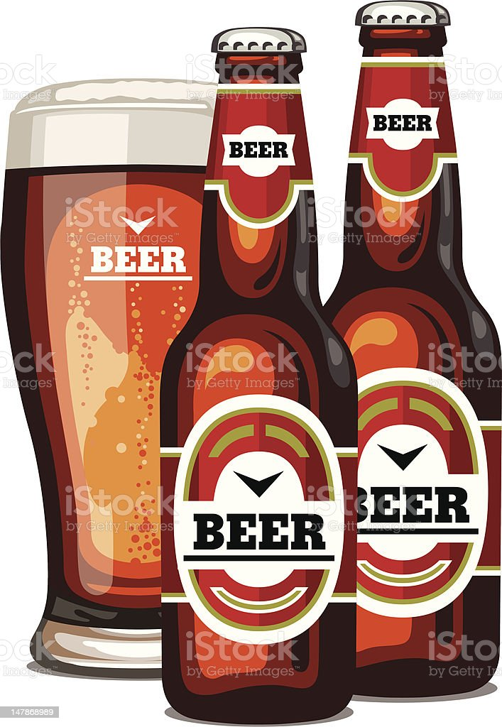 Cartoon like beer bottles and glass of beer royalty-free stock vector art