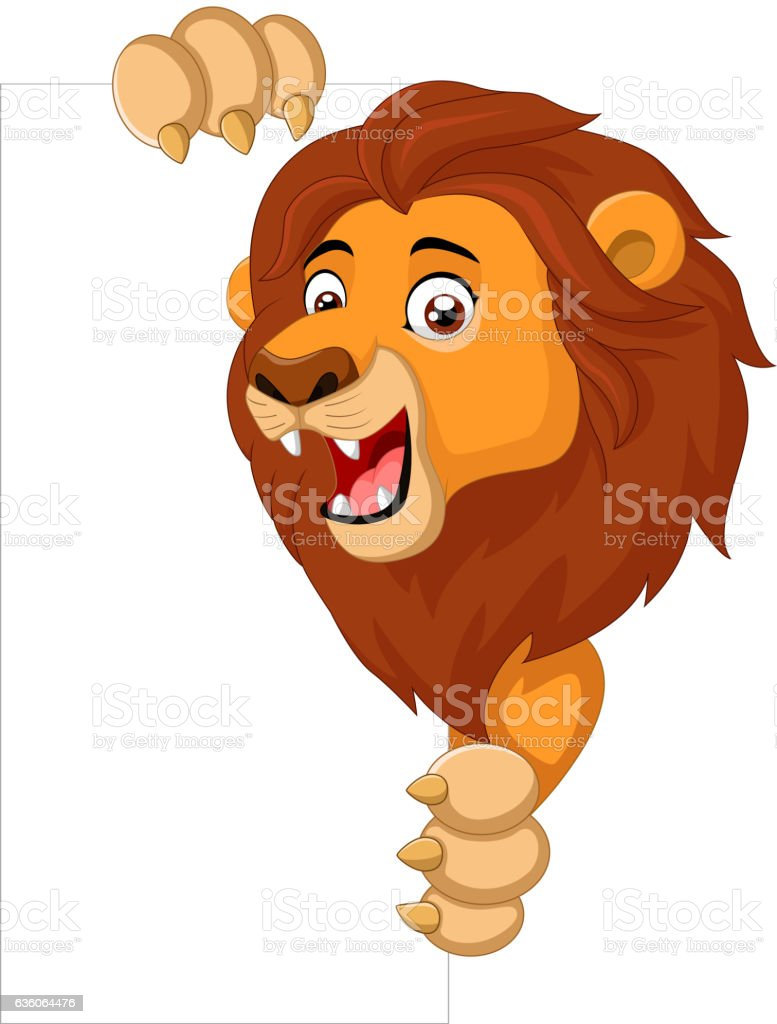 cartoon lion holding blank sign まぶしいのベクターアート素材や画像