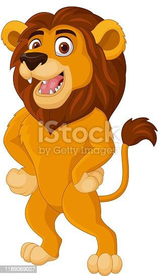 istock Cartoon lion posing on white background 1189069027
