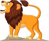 istock Cartoon lion roaring isolated on white background 1314453101