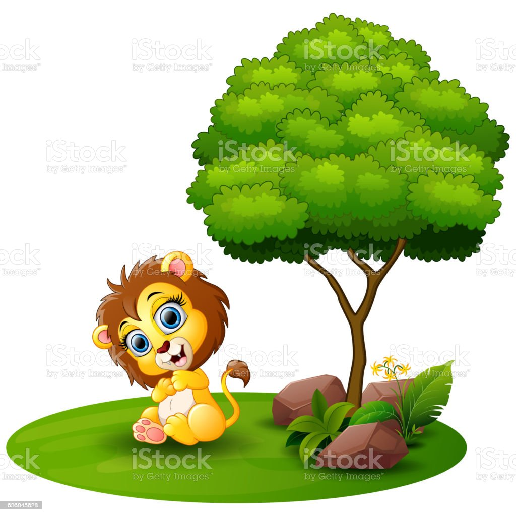 Cartoon Lion Sitting Under A Tree On A White Background Stock Illustration Download Image Now Istock Choose from over a million free vectors, clipart graphics, vector art images, design templates, and illustrations created by artists worldwide! 2