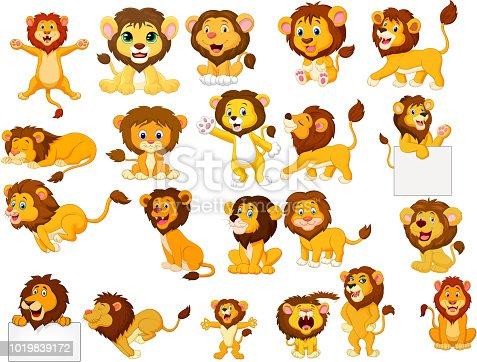 istock Cartoon lions collection set 1019839172