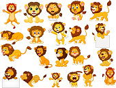 istock Cartoon lions collection set 1019839172