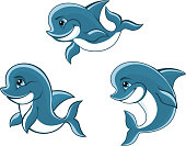 Cartoon little blue dolphins