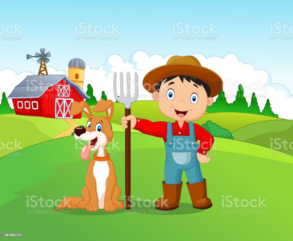 Niño de historieta y Perro en la granja - ilustración de arte vectorial