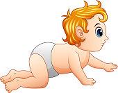 Cartoon little boy crawling