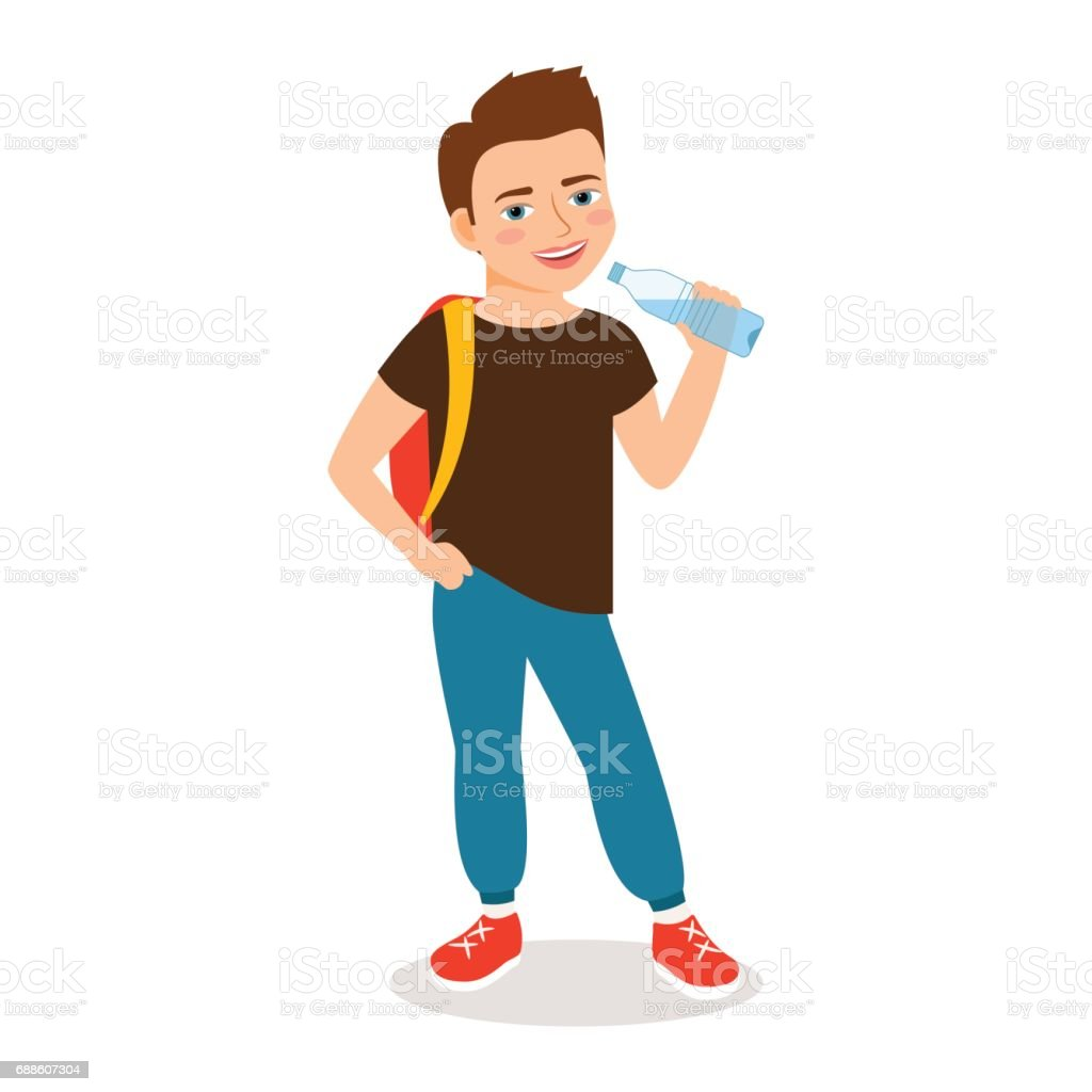 Cartoon little boy drinking clean water vector art illustration