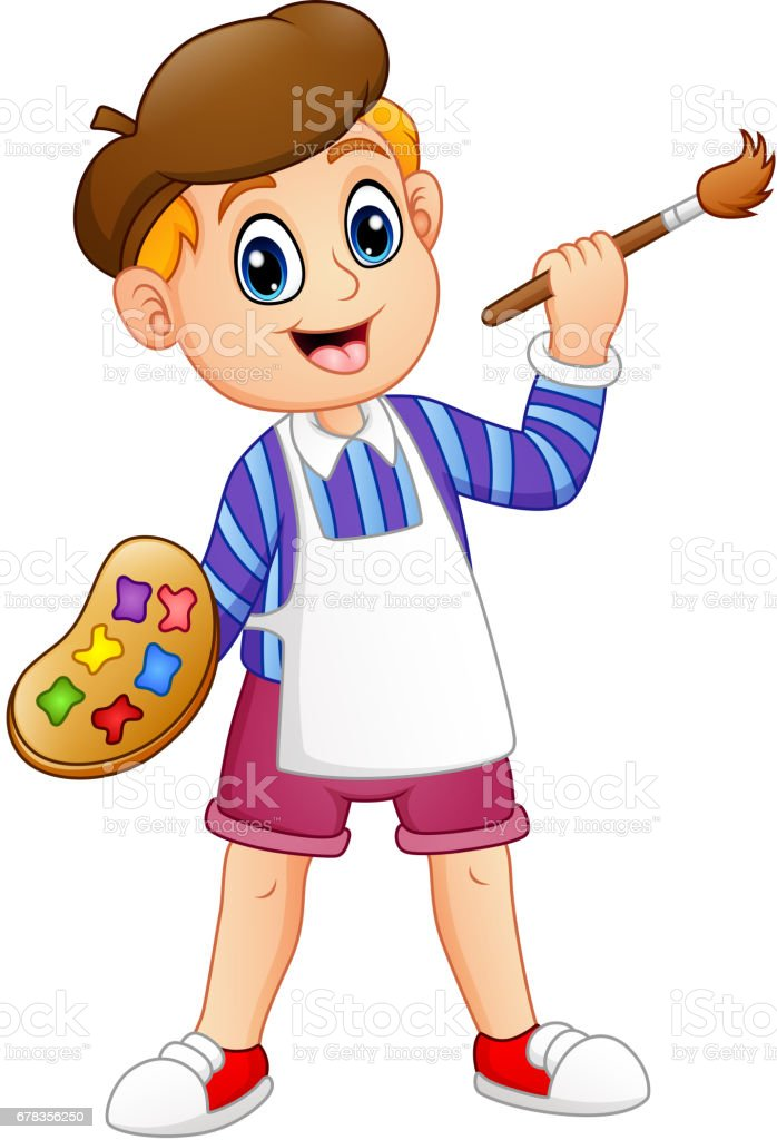 Cartoon little boy painting vector art illustration