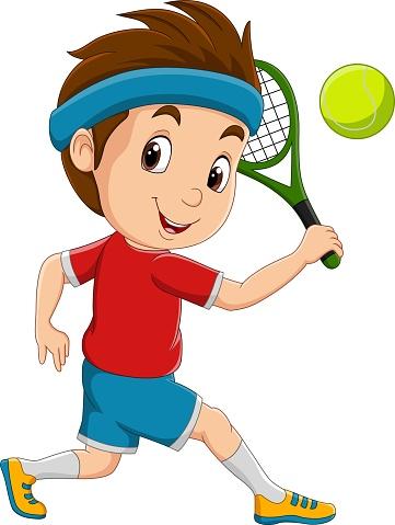 Cartoon little boy playing tennis