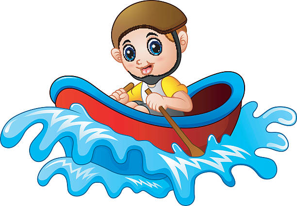 illustrations, cliparts, dessins animés et icônes de cartoon little boy rowing a boat on a white background - pédalo