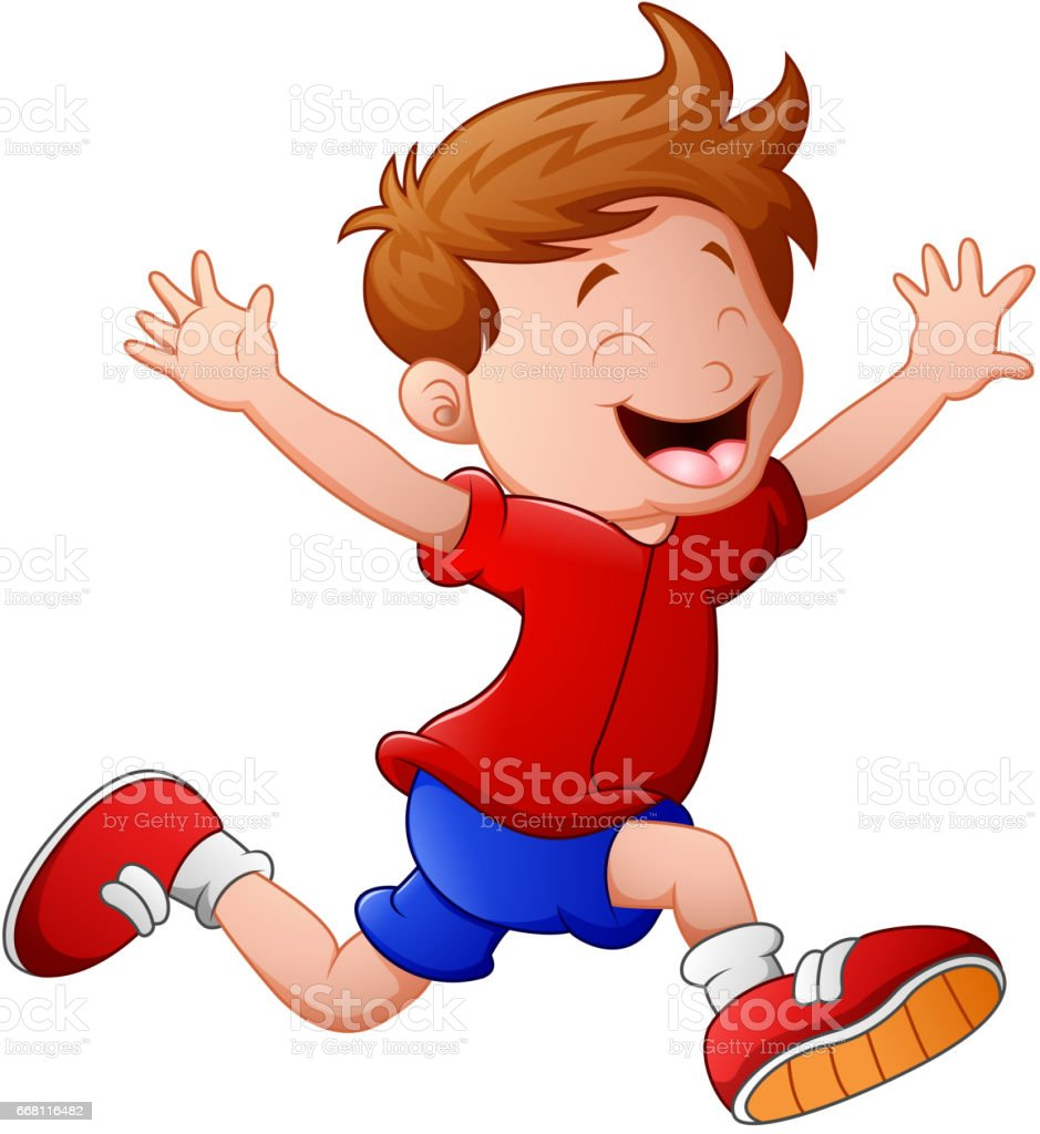 Cartoon little boy running vector art illustration