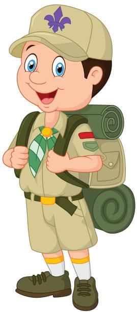 Cartoon little boy scout vector art illustration