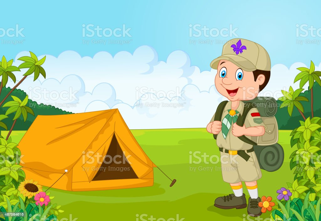 Cartoon little boy scout with tent vector art illustration