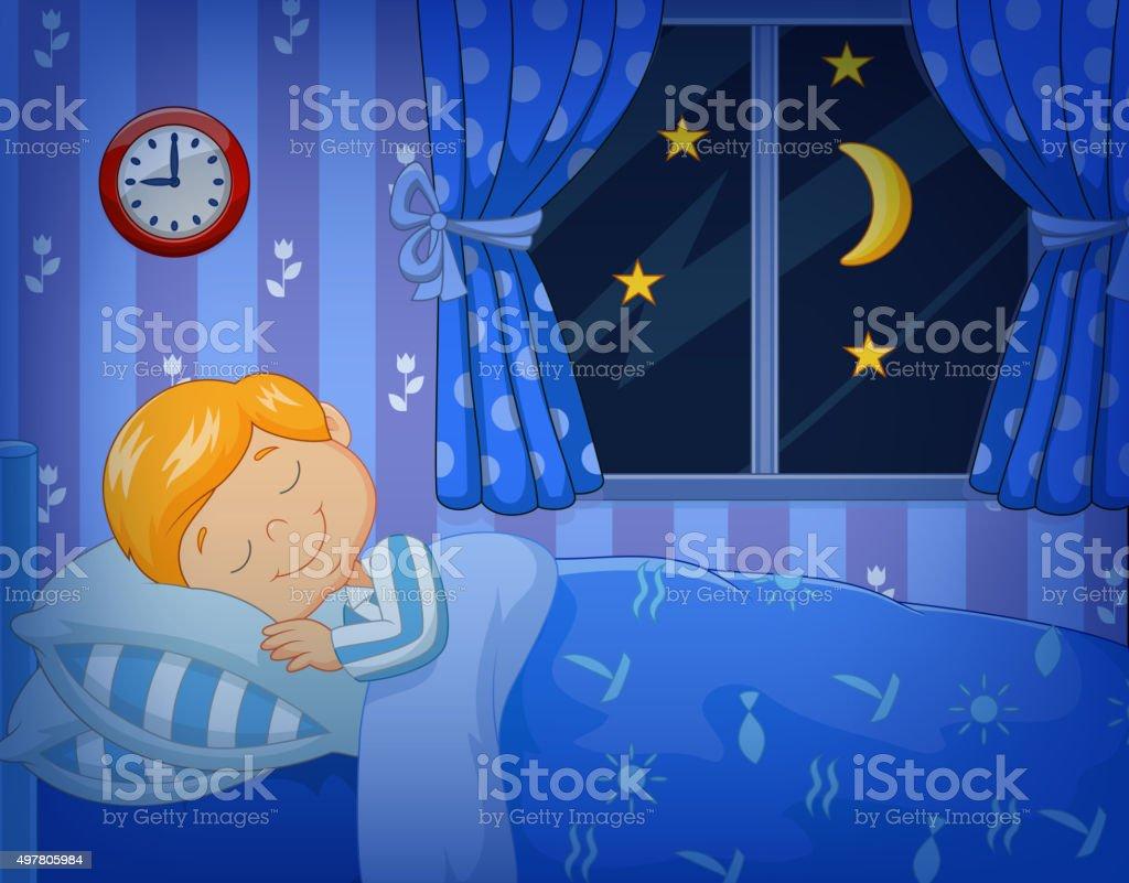 Cartoon little boy sleeping in the bed vector art illustration