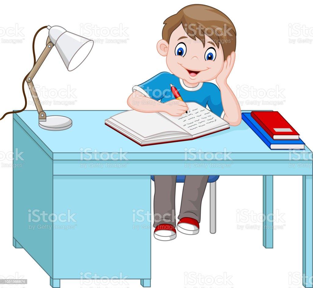 Ilustración De Dibujos Animados De Niño Estudiando Y Más Banco De