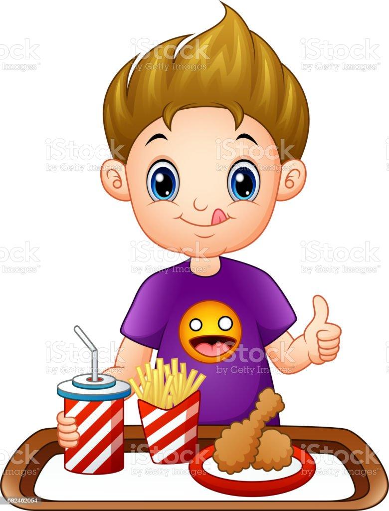 Niño de dibujos animados con una comida rápida dando pulgares ilustración de niño de dibujos animados con una comida rápida dando pulgares y más banco de imágenes de adulto libre de derechos