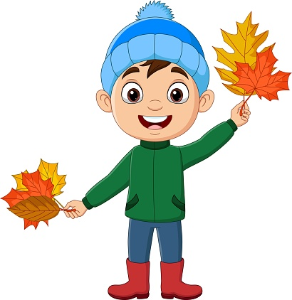 Cartoon little boy with autumn leaves