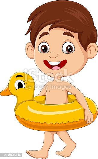 istock Cartoon little boy with inflatable duck ring 1328803110