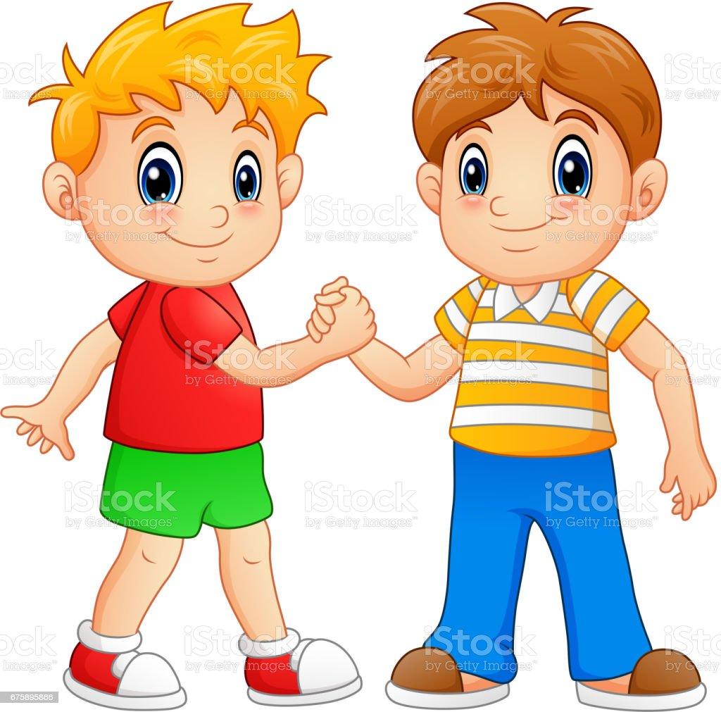 Cartoon Little Boys Shaking Hands Stock Vector Art & More ...
