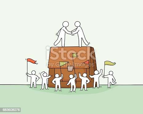 istock Cartoon little business people with big case. 683608076