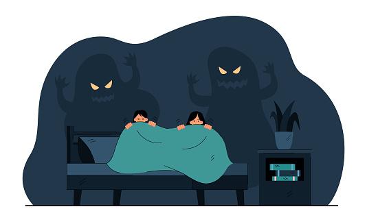 Cartoon little children afraid of ghosts in darkness