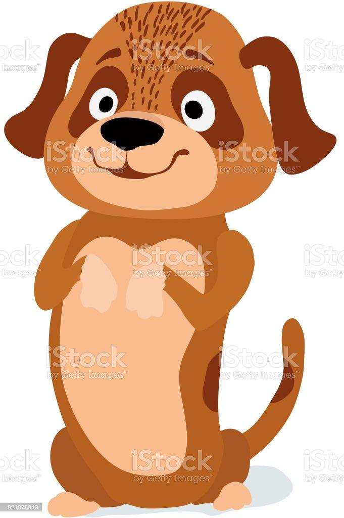 cartoon little cute dog begging vector illustration stock vector