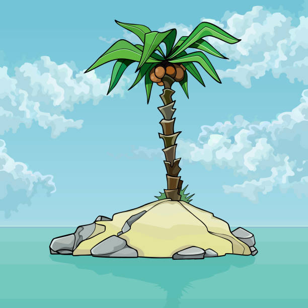 Small Tropical Island Palm Tree Drawing Illustrations ...