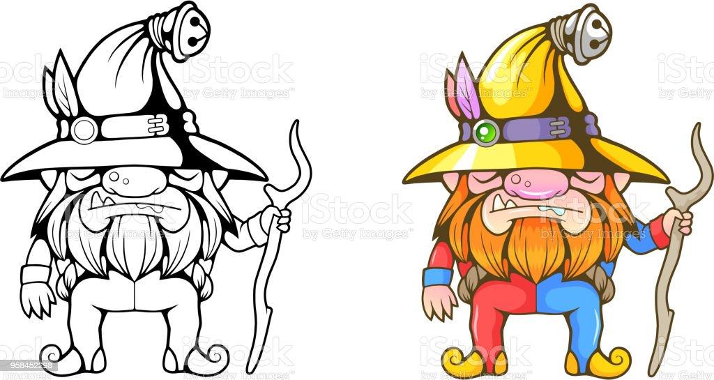 Ilustración de Pequeño Enano Divertido Para Colorear Ilustración De ...