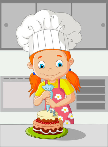 Royalty Free Woman Decorating A Cake Clip Art, Vector ...