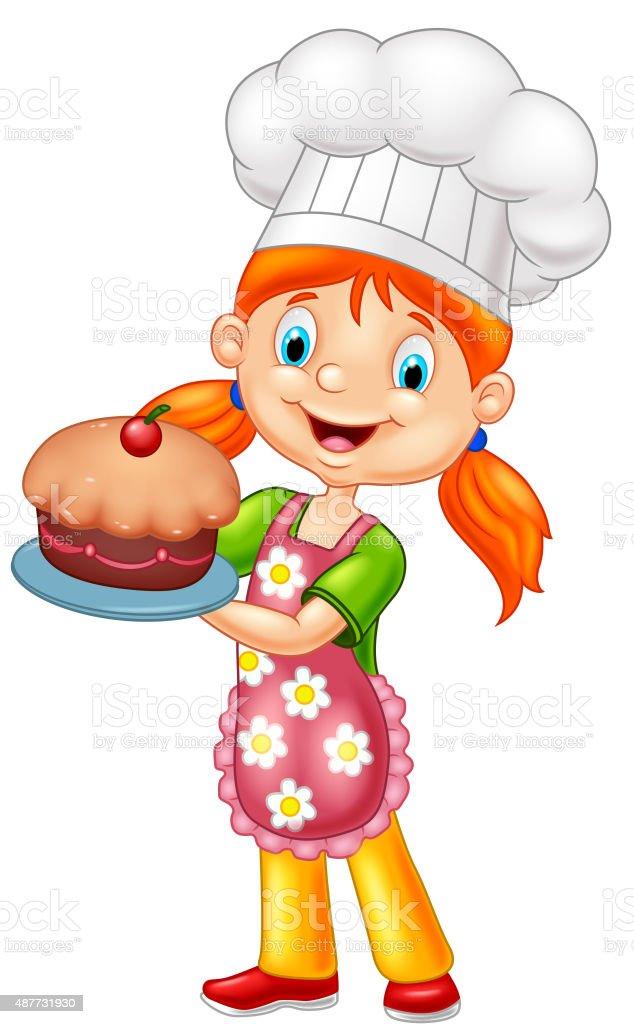 Girl Holding Birthday Cake Drawing
