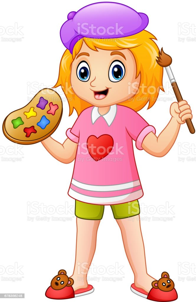 Cartoon little girl painting vector art illustration