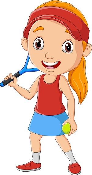 Cartoon little girl playing tennis