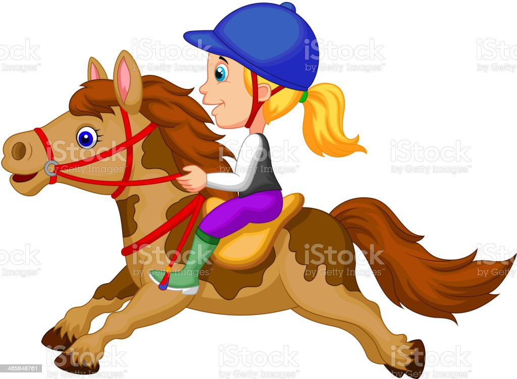 Cartoon Little girl riding a pony horse vector art illustration
