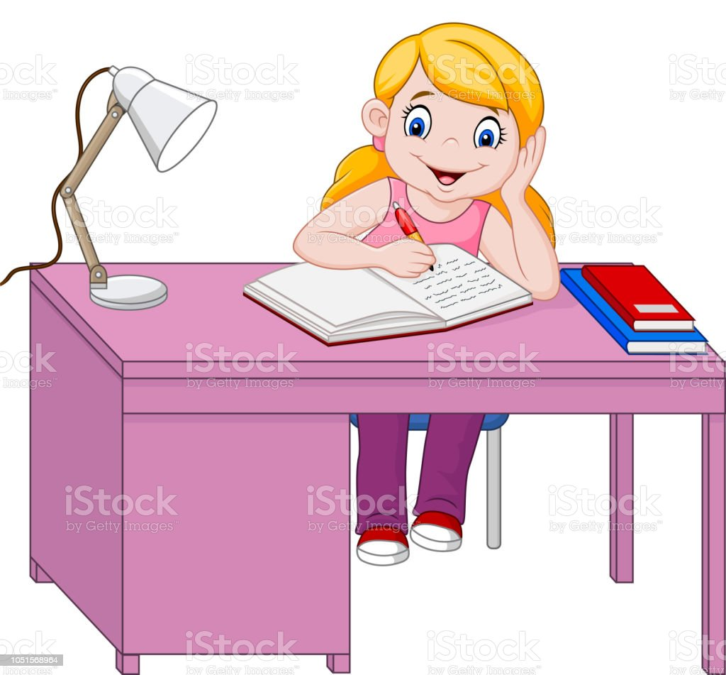 Vetores De Desenho De Menina Estudando E Mais Imagens De Aberto