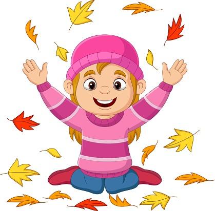 Cartoon little girl throwing autumn leaves