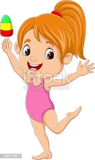 istock Cartoon little girl with ice cream 1330118511