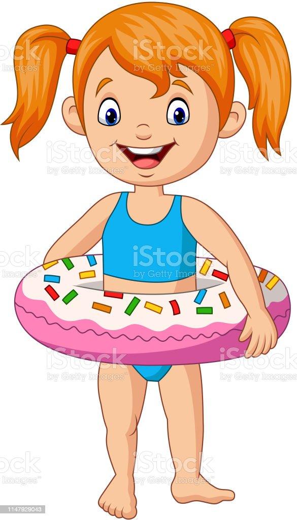 Petite Fille De Dessin Animé Avec Lanneau Gonflable Vecteurs