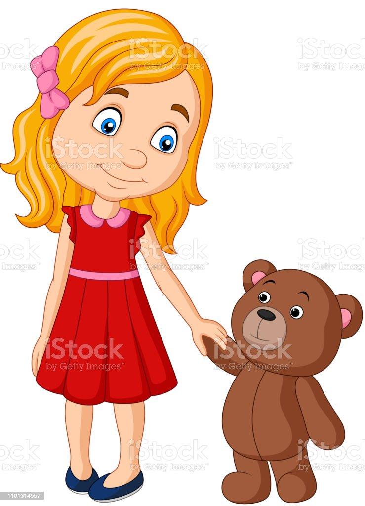 Petite Fille De Dessin Animé Avec La Main De Fixation De