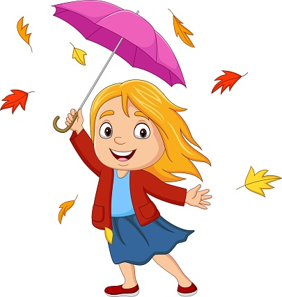 Cartoon little girl with umbrella and autumn leaves