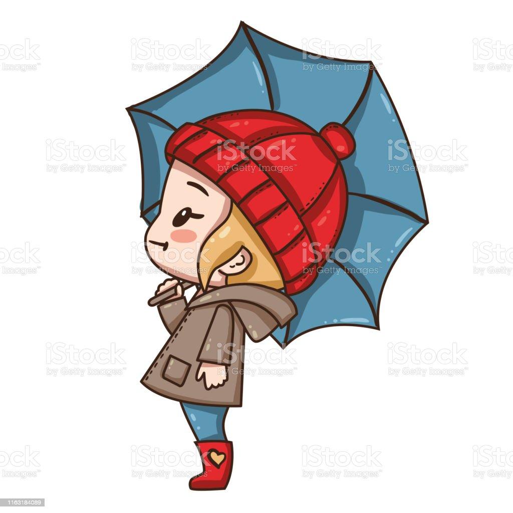 Petite Fille De Dessin Animé Avec Le Parapluie Vecteurs