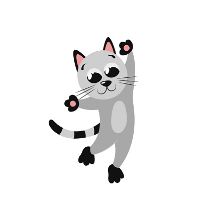 A cartoon little gray kitten is dancing funny on its hind legs. Beautiful cute flat illustration for nursery decor. Cool print for poster, gift card, T-shirt, cup. Clipart element for logos, emblems